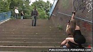 Babe bound up in public
