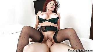 Slutty mature in stockings fucks her son's friend in bed