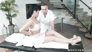 Horny brunette chick seduces and fucks her masseur
