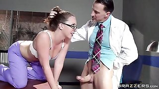 Sexy nurse in glasses gets properly fucked by her colleague