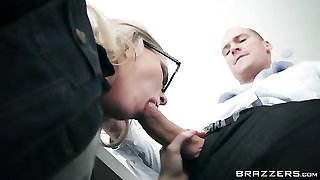 Nerdy blonde babe seduces and fucks her dad's employee