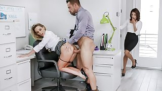 Two naughty bitches get properly fucked in the office