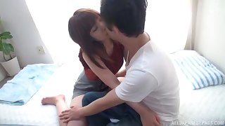 Passionate Japanese lady wraps her lips and pussy around BF's dick