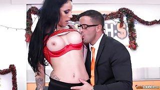 Dark-haired slut in red lingerie fucks lucky guy in the office