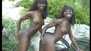 Horny black sisters can't get enough of this massive cock