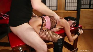 Black-haired MILF with big boobs gets brutally fucked
