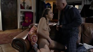 Kinky brunette gets anally punished by her stepfather