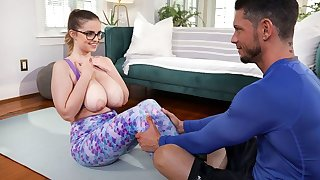 Lusty chick with saggy boobs fucks Tyler in the living room