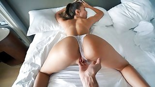Horny Russian girl with a killer body satisfies her stepbro in bed