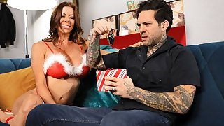 Ravishing housewife with big boobs gets a special present for Xmas