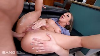 Gorgeous babe with natural tits gets assfucked in the kitchen