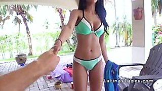 Natural breasty latin chick bonks her roommate