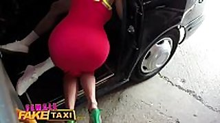 Female fake taxi guy gives busty golden-haired milf a...